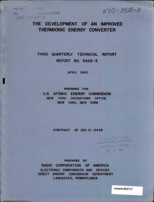 Primary view of object titled 'The Development of an Improved Thermionic Energy Converter: Third Quarterly Technical Report'.