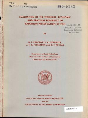 Primary view of object titled 'Evaluation of the Technical, Economic and Practical Feasibility of Radiation Preservation of Fish'.