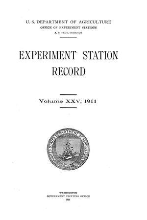 Primary view of object titled 'Experiment Station Record, Volume 25, 1911'.