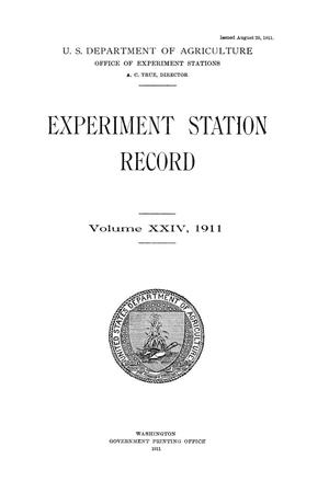 Primary view of Experiment Station Record, Volume 24, 1911