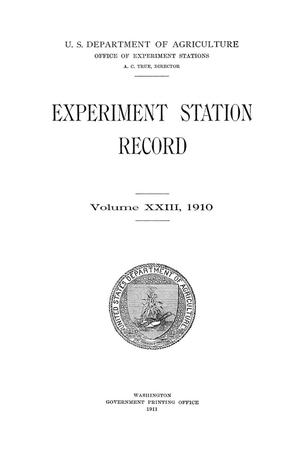 Primary view of object titled 'Experiment Station Record, Volume 23, 1910'.