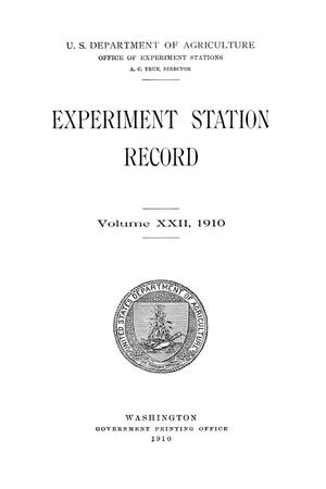 Experiment Station Record, Volume 22, 1910