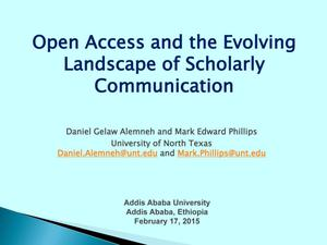 Primary view of object titled 'Open Access and the Evolving Landscape of Scholarly Communication'.
