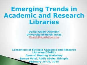 Primary view of object titled 'Emerging Trends in Academic Research Libraries'.