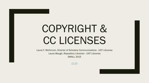 Primary view of object titled 'Copyright and Creative Commons (CC) Licenses'.