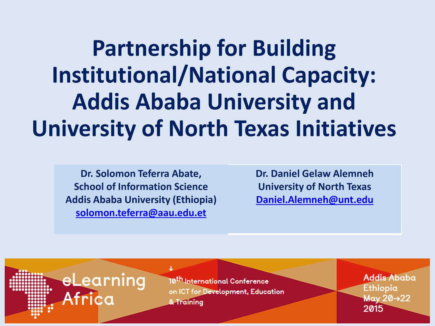 Partnership for Building Institutional/National Capacity: Addis