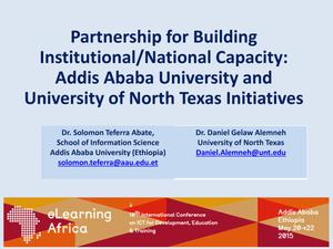 Primary view of object titled 'Partnership for Building Institutional/National Capacity: Addis Ababa University and University of North Texas Initiatives'.