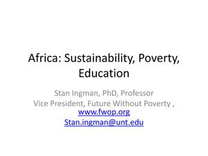 Primary view of object titled 'Africa: Sustainability, Poverty, Education'.