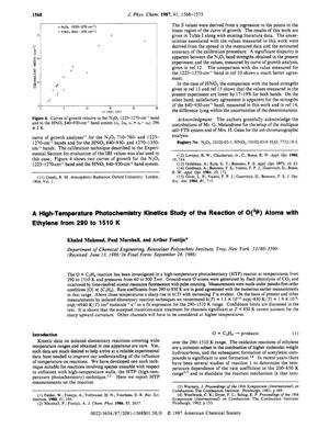 Primary view of object titled 'A High-Temperature Photochemistry Kinetics Study of the Reaction of O(³P) Atoms with Ethylene from 290 to 1510 K'.