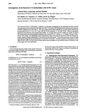 Primary view of object titled 'Investigations of the reaction of trimethylsilane with O(³P) atoms'.