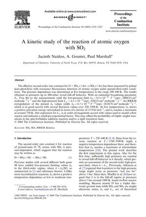 Primary view of object titled 'A kinetic study of the reaction of atomic oxygen with SO₂'.