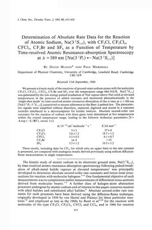Primary view of object titled 'Determination of absolute rate data for the reaction of atomic sodium, Na (3²S(1/2)), with CF₃Cl, CF₂Cl₂, CFCl₃, CF₃Br and SF₆ as a Function of Temperature by Time-resolved Atomic Resonance-absorption Spectroscopy at λ = 589 nm [Na(3²Pᴊ) ← Na(3²S(1/2))'.