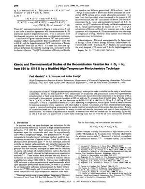 Primary view of object titled 'Kinetic and Thermochemical Studies of the Recombination Reaction Na + O₂ + N₂ from 590 to 1515 K by a Modified High-Temperature Photochemistry Technique'.