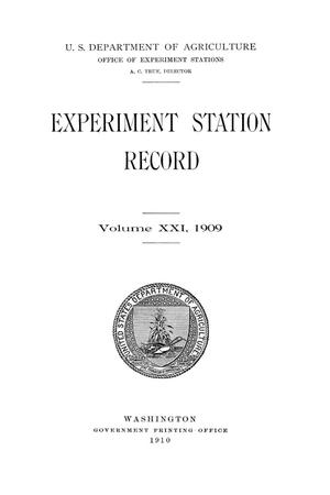 Primary view of object titled 'Experiment Station Record, Volume 21, 1909'.