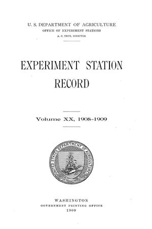 Experiment Station Record, Volume 20, 1908-1909