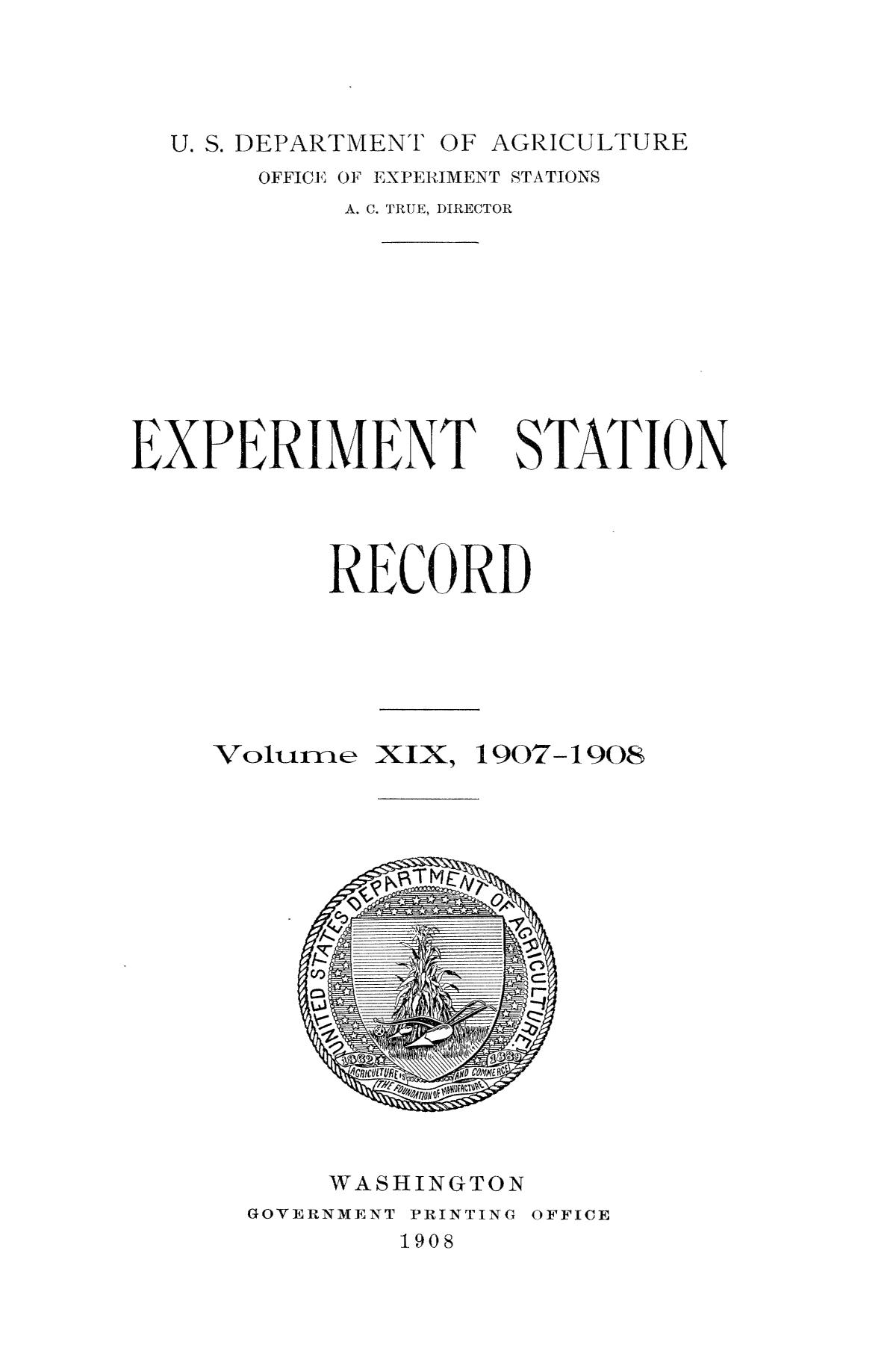 Experiment Station Record, Volume 19, 1907-1908                                                                                                      Title Page