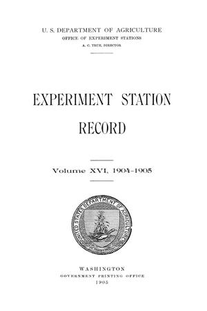 Primary view of object titled 'Experiment Station Record, Volume 16, 1904-1905'.