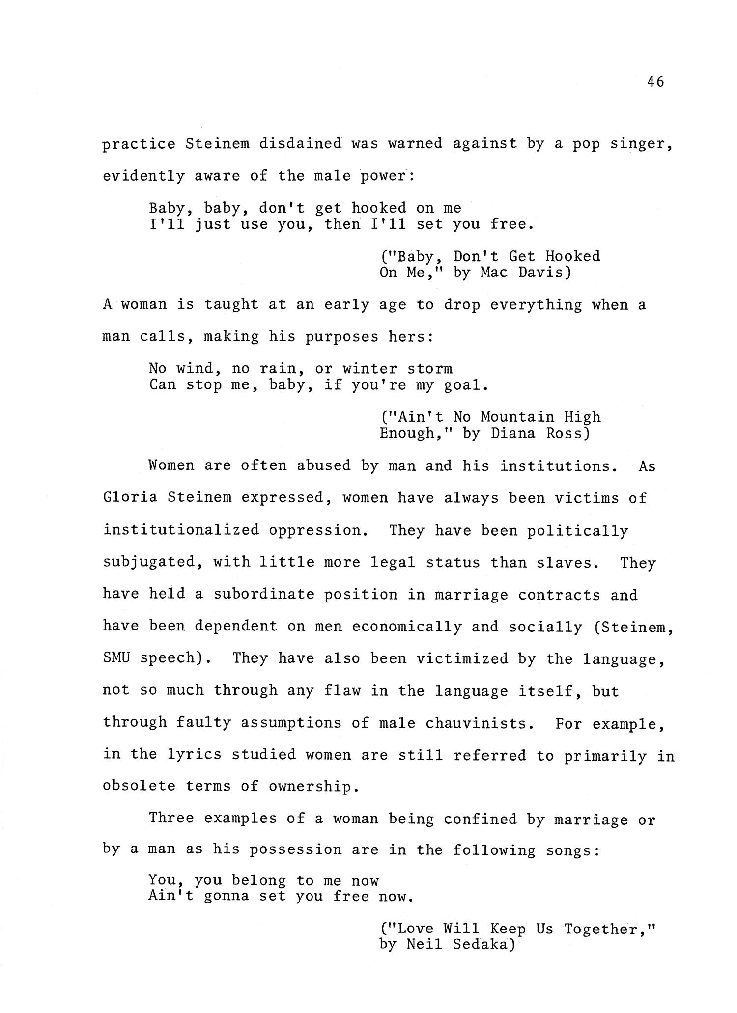 Sexist Language In The Popular Lyrics Of The Seventies Page 46 Unt Digital Library