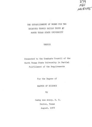 Primary view of object titled 'The Establishment of Norms for Two Selected Tennis Skills Tests at North Texas State University'.