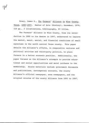 The 1880-1897 Digital County Wise Farmers' Texas Alliance In Library -