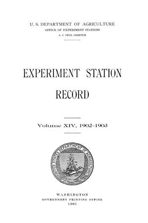 Primary view of object titled 'Experiment Station Record, Volume 14, 1902-1903'.