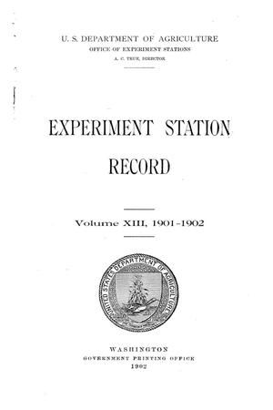 Primary view of object titled 'Experiment Station Record, Volume 13, 1901-1902'.