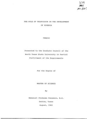 Primary view of object titled 'The Role of Television in the Development of Nigeria'.