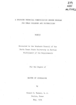 Primary view of object titled 'A Proposed Technical Communication Degree Program for Texas Colleges and Universities'.