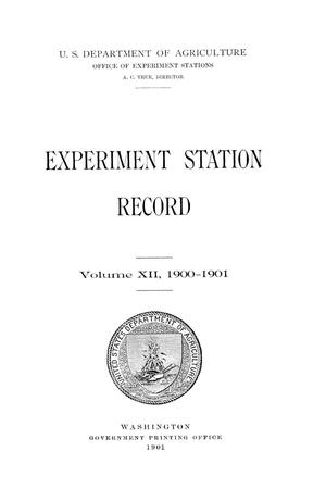 Primary view of object titled 'Experiment Station Record, Volume 12, 1900-1901'.