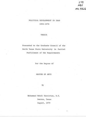 Primary view of object titled 'Political Development in Iran, 1905-1978'.