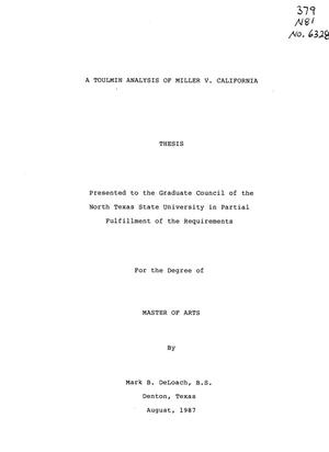 Primary view of object titled 'A Toulmin Analysis of Miller v. California'.