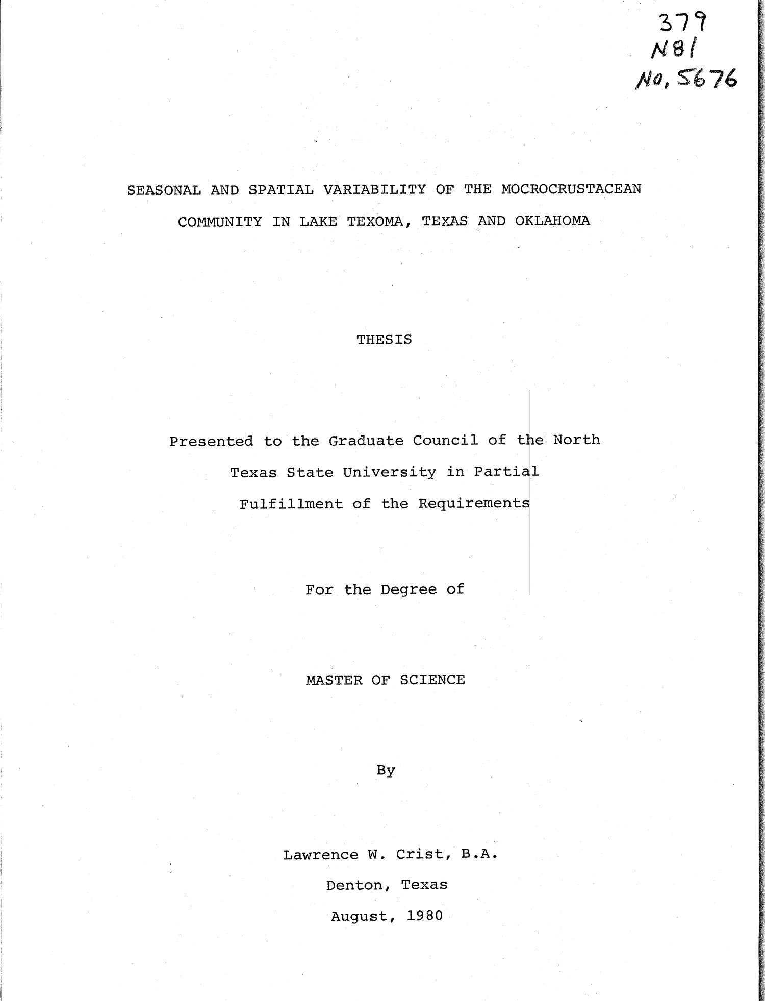 Seasonal and Spatial Variability of the Microcrustacean Community in Lake Texoma, Texas and Oklahoma                                                                                                      Title Page