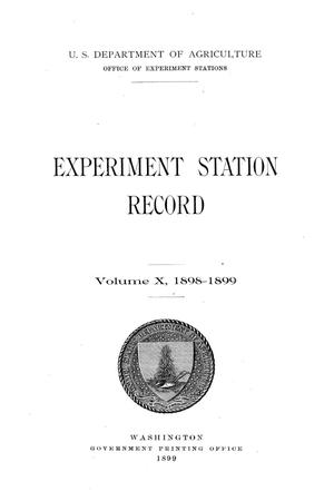 Primary view of object titled 'Experiment Station Record, Volume 10, 1898-1899'.