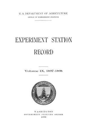 Primary view of object titled 'Experiment Station Record, Volume 9, 1897-1898'.