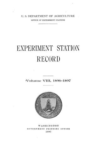 Primary view of object titled 'Experiment Station Record, Volume 8, 1896-1897'.