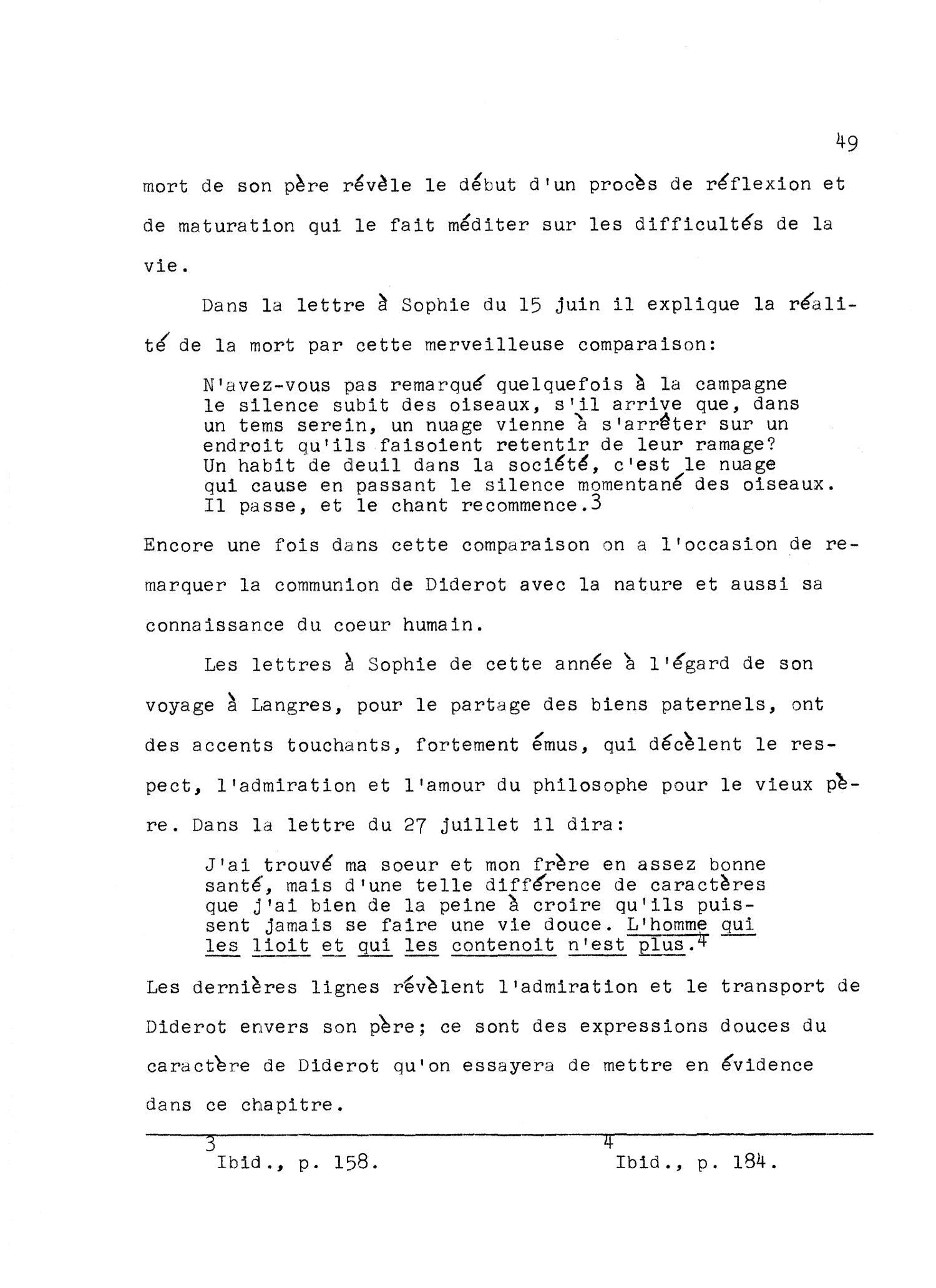 Denis Diderot Lettres à Sophie Volland 1759 Page 49 Unt