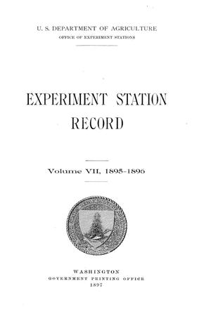 Primary view of object titled 'Experiment Station Record, Volume 7, 1895-1896'.