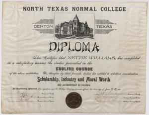 Primary view of [Nettie Williams North Texas Normal College diploma]