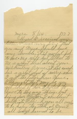 Primary view of [Letter from Johnathan Theodore Biffle to Byrd Moore Williams, Jr., August 14, 1923]