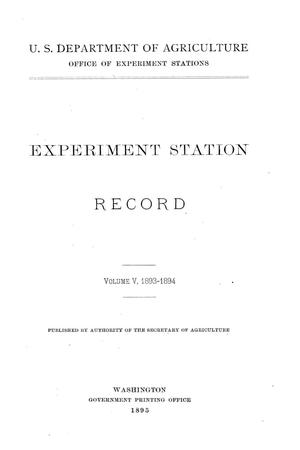 Primary view of object titled 'Experiment Station Record, Volume 5, 1893-1894'.