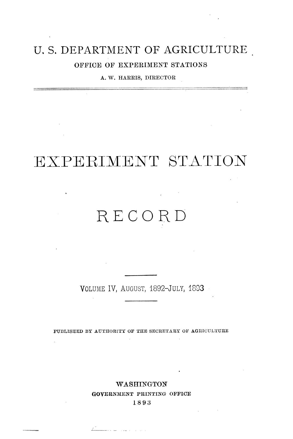 Experiment Station Record, Volume 4, August 1892-July 1893                                                                                                      Title Page