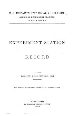 Primary view of object titled 'Experiment Station Record, Volume 4, August 1892-July 1893'.