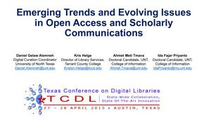 Primary view of object titled 'Emerging Trends and Evolving Issues in Open Access and Scholarly Communications'.