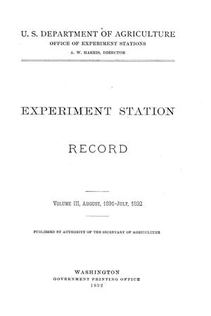 Primary view of object titled 'Experiment Station Record, Volume 3, August 1891-July 1892'.