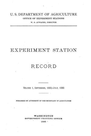 Primary view of object titled 'Experiment Station Record, Volume 1, September 1889-July 1890'.