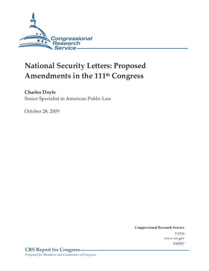 National Security Letters Proposed Amendments in the 111th