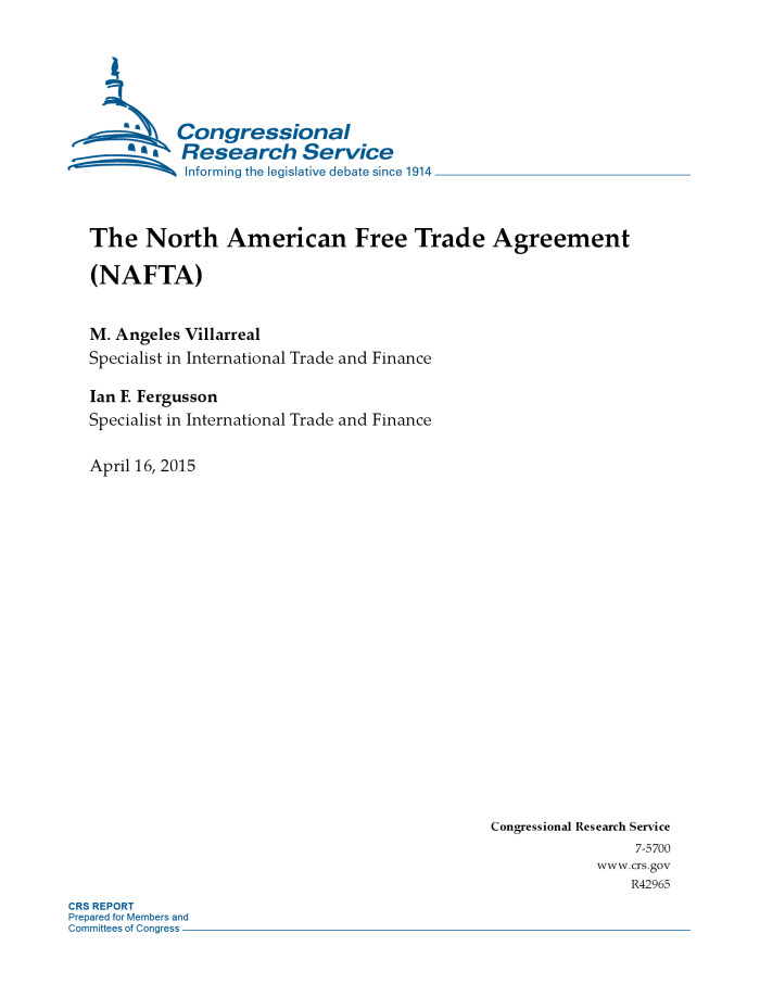 The North American Free Trade Agreement Nafta Digital Library
