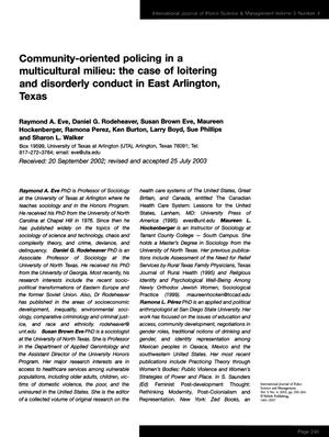 Community-oriented policing in a multicultural milieu: The case of loitering and disorderly conduct in East Arlington, Texas