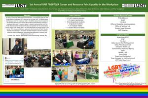 Primary view of object titled 'First Annual UNT Lesbian, Gay, Bisexual, Transgender, Queer/Questioning, Intersex, Ally Career and Resource Fair: Equality in the Workplace'.