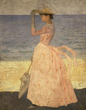 Primary view of Woman with Umbrella at the Beach